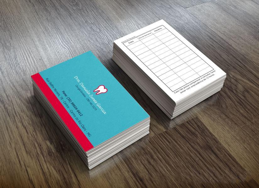 Cartão visita colorido frente e p&b verso